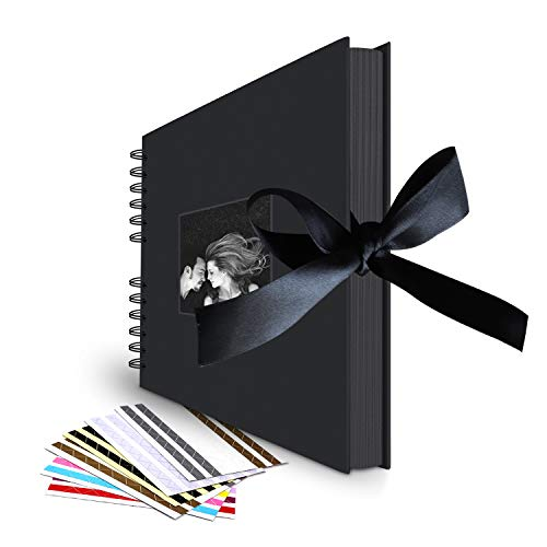 Scrapbook Album, 80 DIY Pages Photo Collection with Phonto Opening and Gift Bow Knot by LUNIQI, Black Paper for Anniversary, Wedding, Birthday, Valentines Day, with 6 Corner Stickers