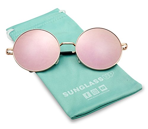 Sunglasses Round Large (55mm Large Circular Retro Round Flat Mirrored Hippie Circle Sun Glasses (Rose Gold/Pink Lens, 55))