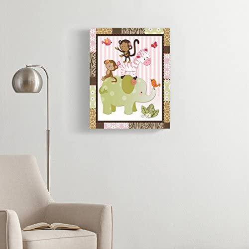 Amazon Com Torass Canvas Wall Art Print Pink Room Jungle Jill Animals Baby Nursery Themes Artwork For Home Decor 16 X 20 Posters Prints