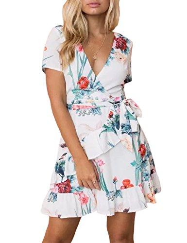 A Scollo Estivo Abito Bianco Vestito Corto Dress Donna Mare V Mini Vita Summer Mescara Pieghe Beach Alta Cocktail Sera Fiore Spiaggia Stampa Copricostume wpqSXIx