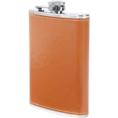 Maxam 8oz Stainless Steel Flask With Faux Leather Wrap