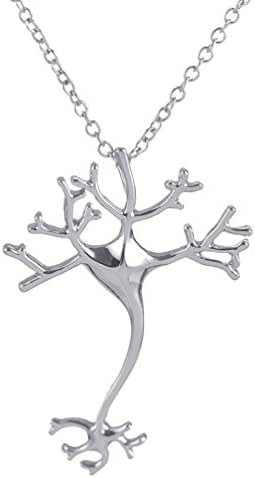 Redangel Nerve Cell Science Pendant Necklace Neuron Tree Biochemistry Brain for Student Girl Silver Tone