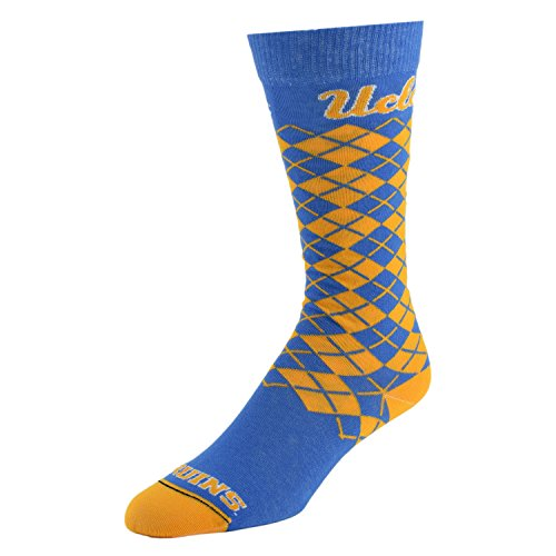 College Edition NCAA (Team) Premium Made in The USA Knee High Dress Socks - Jersey Knit Argyle, Large,Blue ()