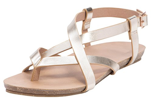 Cambridge Select Womens Crisscross Strappy Thong Buckled Slingback Flat Sandal Champagne Pu 5QlZG