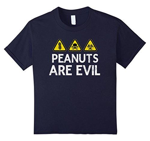 Kids Peanuts are Evil-Danger Hazard Signs Peanut Allergy T-shirt 8 ()
