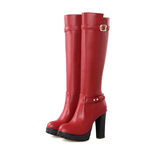 1TO9 Womens Zipper High-Heels Platform Urethane Boots Red