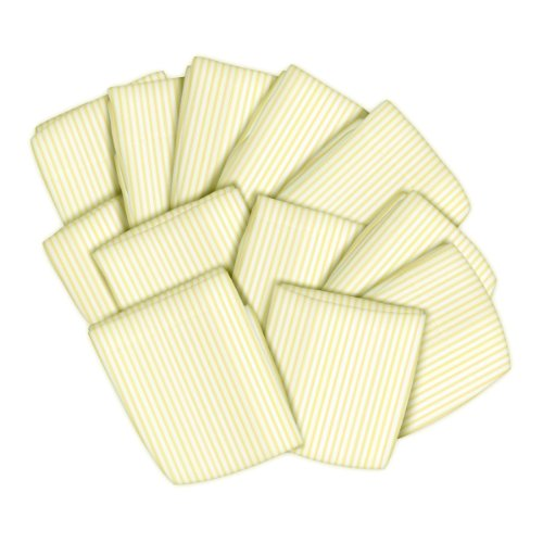SheetWorld 12 Pack Fitted Basket Sheets 13'' x 27'' - Yellow Stripes Jersey Knit - Made In USA