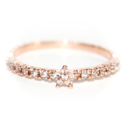 18K Dainty and Delicate CZ Flower on Pave Band Ring - Rose Gold / White Gold Plated (Size 3-9)