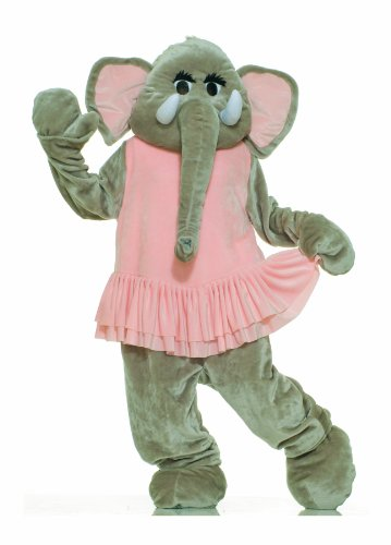 Forum Deluxe Plush Elephant Mascot Tutu, Pink/Gray, One Size Costume - Mascot Costumes