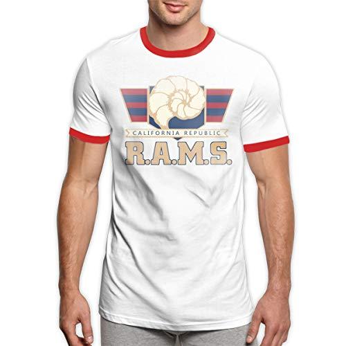(MiiyarHome Men's Ringer T-Shirt St Louis Rams, Men Short Sleeves Jersey Causal Tee Red XL)