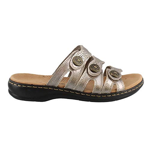 CLARKS Women's Leisa Grace Pewter Leather 9 C US C - Wide]()