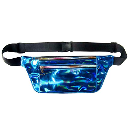 Dolores Hologram Laser Waist Bag Slim Fanny Pack Fashion PU Waterpoof Beach Purse Chest Pack Bum Bag Blue (Chest Waist)