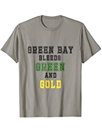 Green Bay Bleeds Green and Gold Light Colored Tee, Football