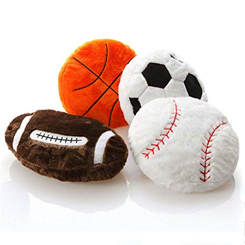 HOUTBY Stuffed Plush Pillow Toys Soft Fluffy Baby Doll Sport DIY Football Cushion Pillows Gifts for Kids ()