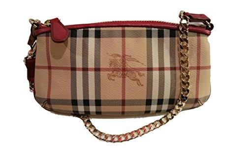 Burberry Haymarket Nova Check Clara Leather Wristlet