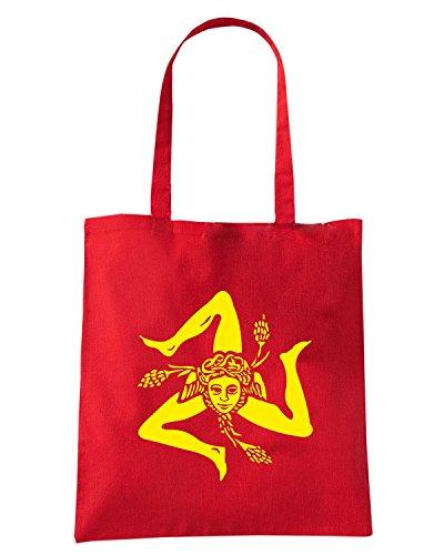 T-Shirtshock - Bolsa para la compra T1059 trinacria politica Rojo