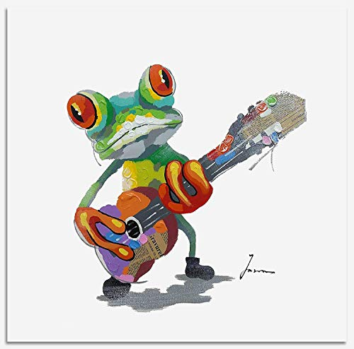Bignut Art 100% Hand Painted Guitar Frog Framed Oil Paintings Canvas Wall Art Living Room Bedroom Home Wall Decor Ready to Hang 24x24 Inches - Frog Framed Art