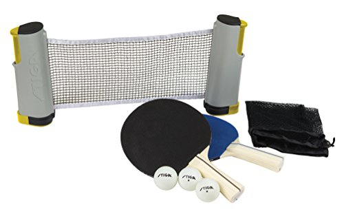 STIGA Retractable Take Anywhere Table Tennis Set Includes Net, Two Paddles, Three Balls, and Storage ()