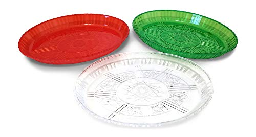 - Holiday Serving Plates: Fancy Plastic Christmas Serving Platters with Cut Glass Design, Reusable, BPA Free (3, Red, Green, and Clear)