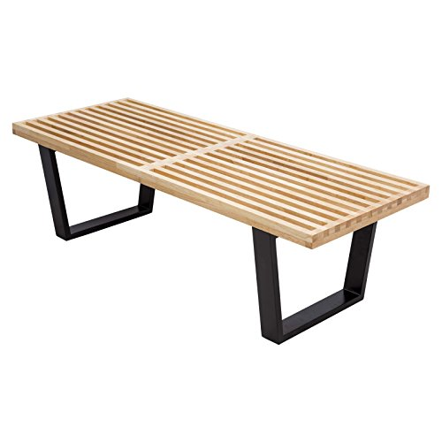 Leisuremod Mid-Century George Nelson Style Platform Bench in Natural Wood 4 Feet by LeisureMod