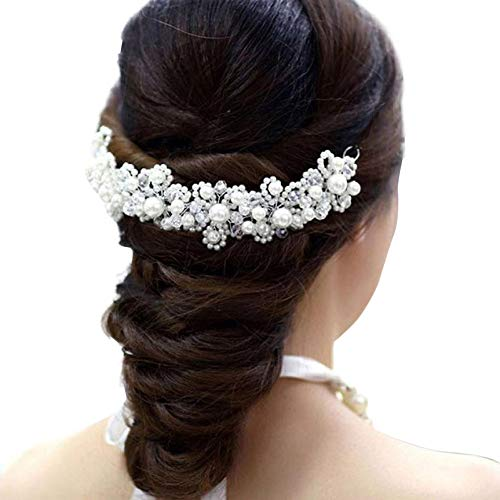 ♛Euone Headwear Hairpin ♛Clearance♛, White Pearl Crystal Bride Headdress by Hand Bridal Wedding Dress Accessories