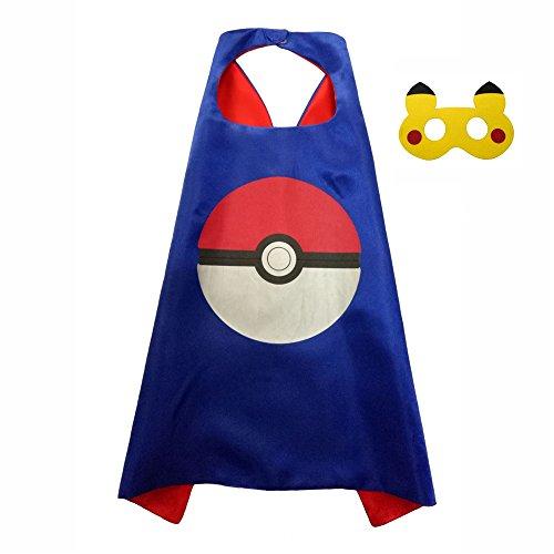 [FASHION ALICE Kids Pokemon Pikachu Poke Ball CAPE & MASK SET,Halloween Costume Cloak for Child (Poke Ball] (Original Costumes For Halloween)