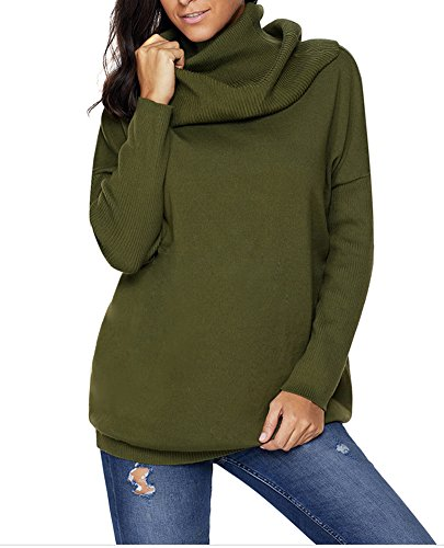 YiYaYo Womens Loose Cowl Neck Long Sleeve Solid Pullover Sweaters ArmyGreen XL (Sweater Solid Neck Cowl)