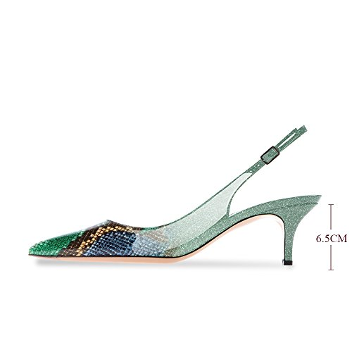 Women's Green Pointed 5CM Ankle 6 Patent Toe Strap Stiletto Slingback Snake Leather Shoes Kitten Modemoven Pumps Skin Evening Heels Sqgdg