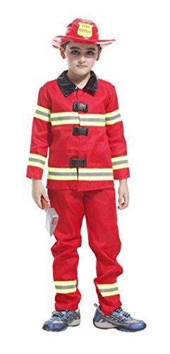 HalloweenCostumeParty Fireman costume Fullset for toddler & kids boys (S(5T-6)