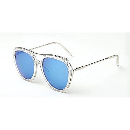 Sunyan Koreanische Version neue Sonnenbrille Frau tide Pink mesh Rot gleichen Stil rundes Gesicht big frame Sonnenbrillen Treiber, transparentem Rahmen blau Quecksilber