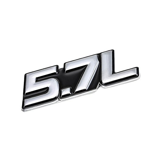 UrMarketOutlet 5.7L Black/Chrome Aluminum Alloy Auto Trunk Door Fender Bumper Badge Decal Emblem Adhesive Tape Sticker