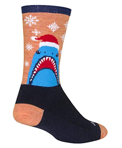 SockGuy, 6-Inch Wool Crew Socks - Chompmas, Small/Medium