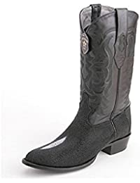 Men's Round Toe Black Genuine Leather STINGRAY SKIN Western Boots - Exotic Skin Boots