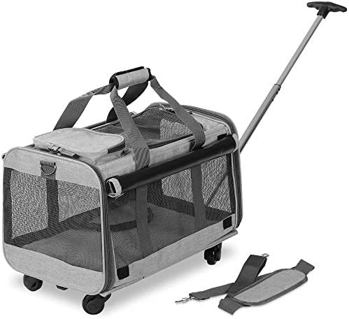 KOPEKS Pet Carrier with Detachable Wheels for Small and Medium Dogs Cats – Heather Grey