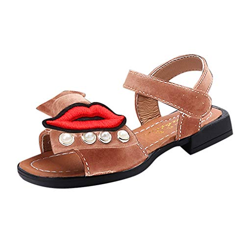 (Respctful✿Kids Girls Beach Sandals Summer Cute Bow Knot Princess Dress Child Strap Leather Shoes Pink)