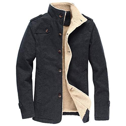 November's Chopin Men's Sherpa Lined Cotton Bomber Jacket Trucker Jacket Military Windbreaker Black ()