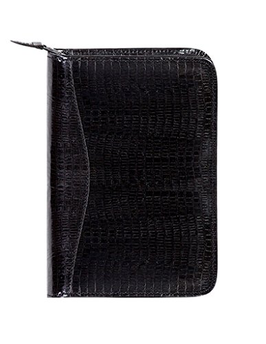 Scully Lizard Embossed Leather Zip Around Weekly Planner (Lizard Black)