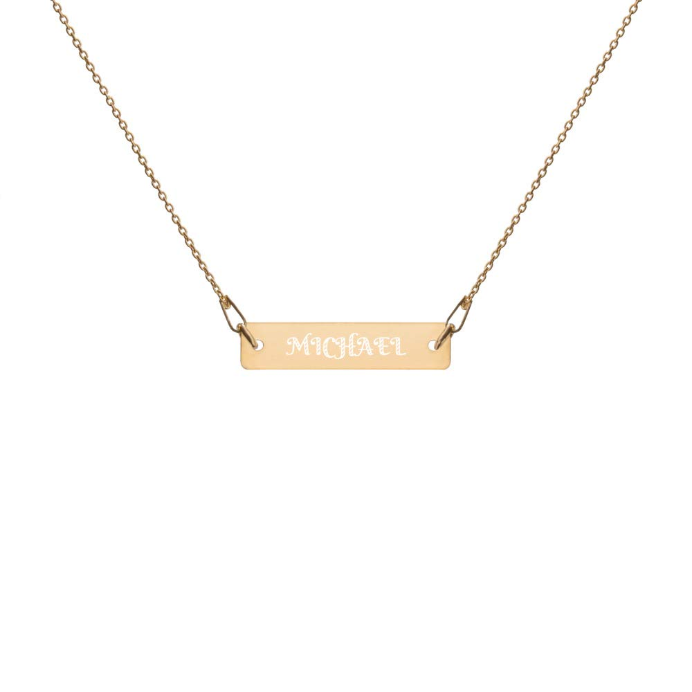 CardonC Minimalist Necklace Engraved in 24K Gold with Michael Name for Men