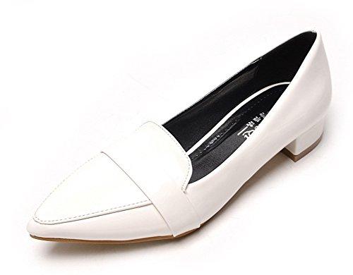 Aisun Damen Lack Blockabsatz Pointed Toe Loafer Schuhe Weiß