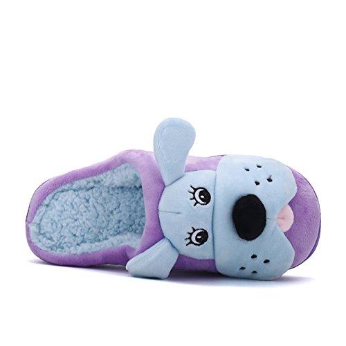 Hiver Fankou Mignon Chien Élément Maison Dessin Animé Jeune Coton Et Pantoufles Multicolores En Coton Léger En Option, 43, Violet Bleu Clair