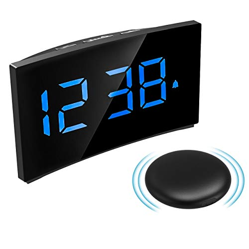 (Digital Alarm Clock with Wireless Bed Shaker, PICTEK Vibrating Alarm Clock, Bomb Alarm Clock for Heavy Sleepers, 3 Alarm Sounds, 5'' LED Display, 5 Dimmer, Snooze Function, Easy Setting for Kid Senior)