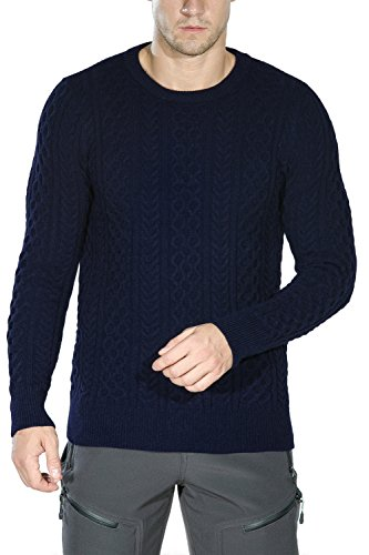 Rocorose Men's Cable Knit Long Sleeves Crewneck Sweater Blue L Classic Cable Crewneck Sweater
