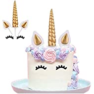 Yashell Topper Reusable Gold HornEars And Eyelashes Cake Value Set For Unicorn Party