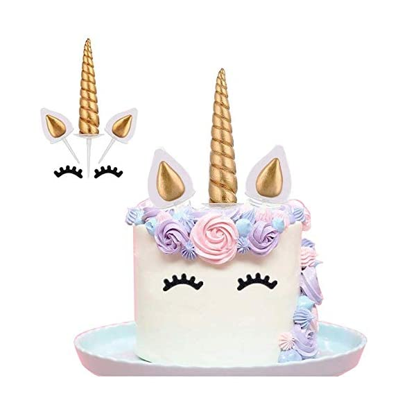 Yashell 9625321410 Topper, Reusable Gold Horn,Ears and Eyelashes Cake Value Set for Unicorn Party Decoration for Baby Shower,Weddin 2