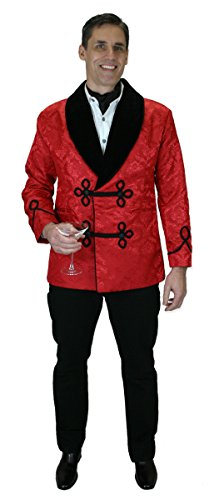 19th Century Shirts - Historical Emporium Men's Vintage Brocade Smoking Jacket M Red