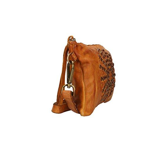 en cuir cuir en Pochette vrai Borse Chicca cuir véritable 27x18x2 Cm wxvXTRE0qn