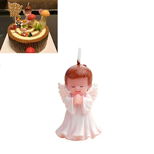 Birthday Cake Angel (Beyonder Children's Birthday Candles with Greeting Card,Handmade Adorable Sleeping Baby Smokeless Baby Shower Baby Birthday Cake Topper Candle, Baby Shower Party Favors Decorations (1, Angle Boy))
