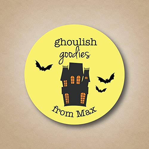 (uniquepig Ghoulish Goodies Personalized Halloween Envelop Seals Stickers Round Holiday Mail Stickers Gifts Bag Tags)