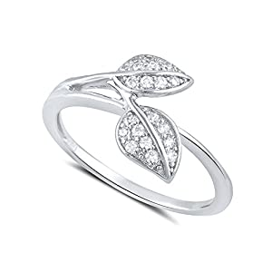 Sterling Silver Simulated Diamond Leaf Ring - Size 7