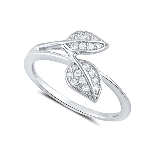 Sterling Silver Cz Stackable Leaf Ring - Size 7